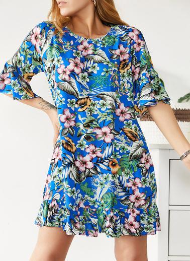 XHAN Çiçek Desenli Kısa Elbise 0Yxk6-43564-50 Mavi
